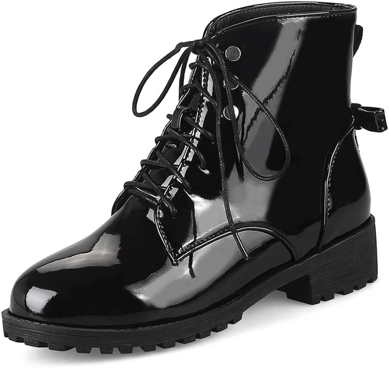 GIY Women's Fashion Lace Up Martin Ankle Boots Waterproof Platform Low Heel Rain Bootie Combat Short Boot