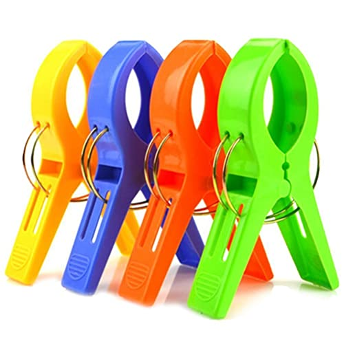 "Itian Set of 4 Beach Towel Clips, Jumbo Size (5"")"