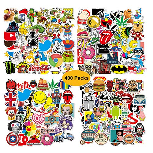 Sticker Pack (400-pcs) Stickers Vinyl Cute for Laptop,Water bottles, Luggage, Skateboard, Bumper Stickers Decals for Car Motorcycle Bicycle, Graffiti Decals-Water-proof for Adults,Teens,Boys and Girls