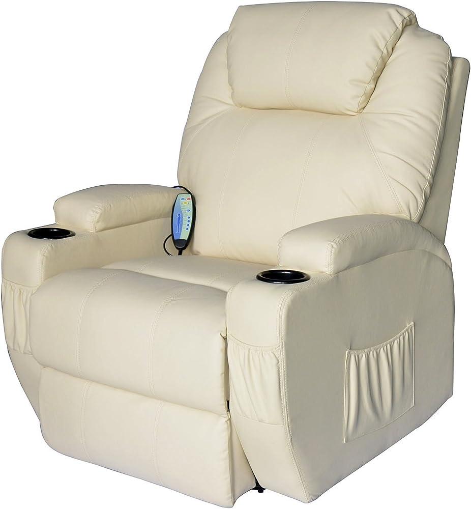 Homcom, poltrona elettrica relax, massaggio reclinabile a 8 punti con riscaldamento A2-0069
