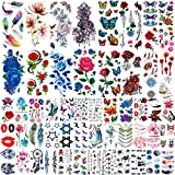 COKTAK 56 Sheets Variety Colorful Rose Flowers Temporary Tattoos For Women, Realistic Feather 3D Butterfly Fake Tattoos Temporary For Girls, Sexy Floral Blossom Branch Arm Neck Face Tatoo Sticker Kit