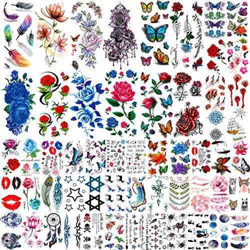 COKTAK 56 Blätter Bunt Rose Blume Temporäre Tattoos Frauen, Feder 3D Fake Tattoos Temporär Mädchen, Damen Temporary Tattoos Blumen Hals Gesicht Tatoo Sticker Kit, Tattoos Zum Aufkleben Auf Die Haut