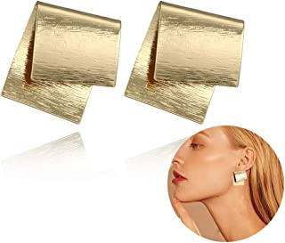 Irregular Geometric Metal Earrings Simple Jewelry Golden Overlapping Square Alloy Women Stud Earrings