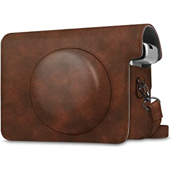 Fintie Protective Case Compatible with Fujifilm Instax Wide 300 Instant Film Camera - Premium PU Leather Protective Bag Cover w/Removable Strap, Vintage Brown