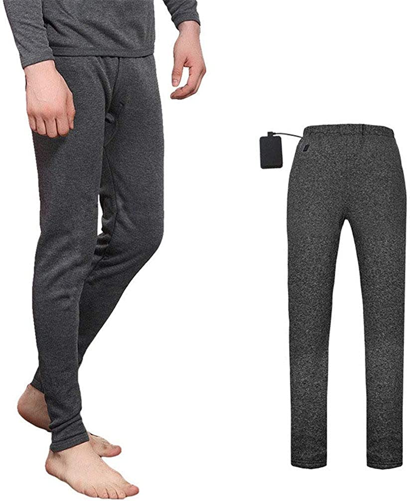 Long Johns Cotton, Heated Thermal Baselayer Bottoms, Intelligent Heating with USB Port, Thermal Underwear Mens, Comfortable Breathable Elastic Safety Washable, for Skiing Camping,Grey-XXL