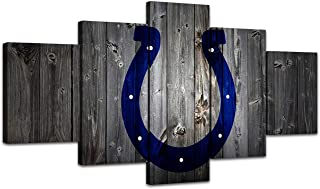 MIAUEN Indianapolis Colts Wall Art Posters for Living Room Pictures Home Decor 5 Piece Paintings Sports Decoration Ready to Hang(60''Wx32''H)