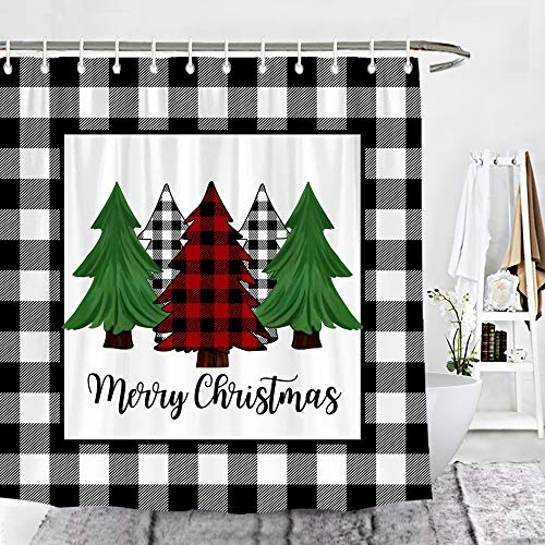 Wencal Buffalo Check Plaid Merry Christmas Trees Shower Curtain Farmhouse Winter Bathroom Decor with Hooks 72 x 72 Inches