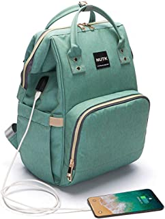 Baby Diaper Bag Backpack,NUTK Multi-Function Waterproof Large Capacity Travel Nappy Bags with USB Charging Port for Mom