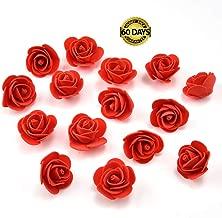 Silk Flowers in Bulk Wholesale Mini PE Foam Rose Flower Head Artificial Rose Flowers Handmade DIY Wedding Home Decoration Festive & Party Supplies 50pcs/lot 3cm (red)