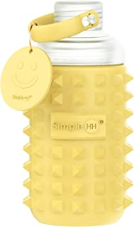 Simple HH Premium Glass Water Bottle with Spiked Silicone Sleeve for Travel, Narrow Mouth, BPA-Free & Dishwasher Safe | 16oz (Mustard)