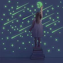 Pegatinas de pared superbrillantes que brillan en la oscuridad 361 puntos luminosos y luna para guarder/ías infantiles o decoraci/ón de sala de estar Becho