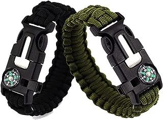 2pcs Survival Bracelets Compass Flint Bracelet Outdoor Escape Survival Hand Rope Survival Whistle Life-Saving Flint Bracelet