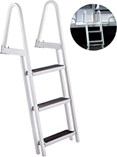 BestEquip Aluminum Dock Ladder 3 Steps, Boat Dock Ladder 16-Inch Wide Step, Aluminum Boat Ladder Removable Dock Stairs w/Handrails Welded Marine Boarding Dock Ladder Stainless Steel Mounting Hardware