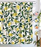 Aar Los Duschvorhang, Zitronengelb, Obst, Duschvorhang, grüne Blätter, Pflanzendesign, wasserdichter Stoff, Badezimmer-Duschvorhang-Set mit 12 Haken, grün-gelb, 183 x 183 cm