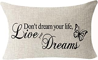 Nordic Sweet Funny Inspirational Sayings Don't Dream Your Life Live Your Dreams Cotton Linen Waist Lumbar Pillow Case Cush...