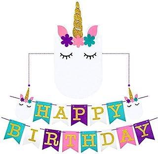 EIXJA Unicorn Happy Birthday Banner, Perfect Unicorn Party Supplies, New Exterior Design and Premium Felt, Unicorn Party D...
