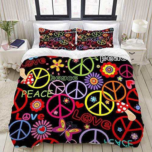 YCHY Bedding Juego de Funda de Edredón - Hippie Fondos de Pantalla Paz símbolo Setas Resumen - profundi/Microfibra Funda de Nórdico y Fundas de Almohada - (Cama 240 x 260cm)