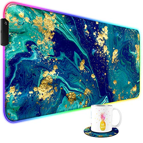 RGB Gaming Mouse Pad and Cute Coffee Coaster, Pink Blue Purple Gold Marble Large Extended Soft Led Mouse Pad with 10 Lighting Mode, Computer Keyboard Mousepads Mat 800 x 300mm / 31.5×11.8 inches