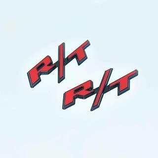R/T Matt Black Black Hq Metal Trunk Badge Auto Fender Side Door Car Self Adhesive Emblem Logo Body Hood Decal Sticker Replacement Truck Van Sports Diy Name Plate Swap 3D Die Cast [2 Pieces][5193