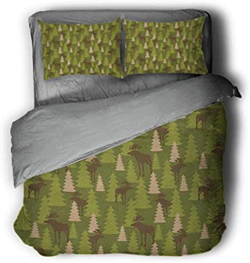 Deer Bed Lining Animals in The Forrest Mooses and Pine Trees Pattern Canada Foliage Mammal Design Grey and White Comforter 89