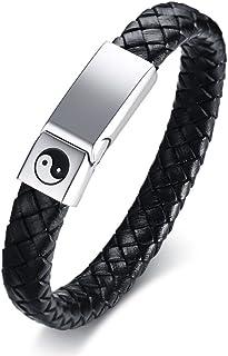 Vnox Bracciale Rigido da Uomo in Pelle di Vitello Intrecciata con Cinturino in Yin Yang e Cinturino di Protezione in Oro,2...