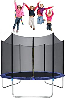 10FT Round Jumping Tabl Trampoline for Kids Sportspower Trampoline with Safety Enclosure Trampoline Net Trampoline Mat and Spring Pad Trampoline Accessories, Best Combo Trampoline Fitness Equipment