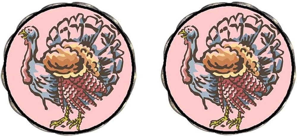 GiftJewelryShop Bronze Retro Style big Thanksgiving turkey clipart Clip On Earrings Flower Earrings #12