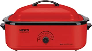 NESCO 4818-12, Classic Roaster Oven with Porcelain Cookwell, Red, 18 quart, 1425 watts