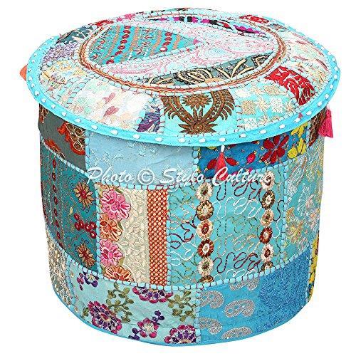 Stylo Culture Reposapiés puf otomano Vintage Cubierta Turquesa étnica Bordado Patchwork algodón Tradicional Cubierta Redonda puf otomano Tela (16x16x13 Pulgadas) 40 cm