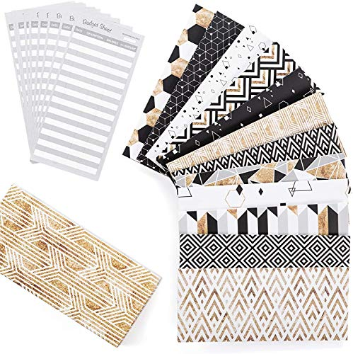 Budget Envelopes - Cash Envelope System - Laminated Cash Envelope System for Money Savings with Budget Sheets 12 Pack of Stylish and Reusable Envelopes with Hook and Loop Closure