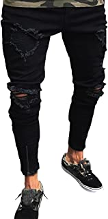Shunht Men's Slim Fit Broken Hole Stretchy Denim Skinny Jeans Little Feet Pants