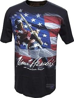 ジミー・ヘンドリックス公式メンズTシャツ(フラッグ)リキッドブルー製
