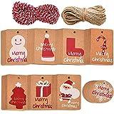 Xinlie Etiquetas de Papel Kraft Etiquetas de Regalo Etiquetas de Boda Etiquetas de Navidad Etiquetas de Regalo de Navidad Christmas Etiquetas para Etiqueta de Envoltura de Regalo de Navidad (160PCS)