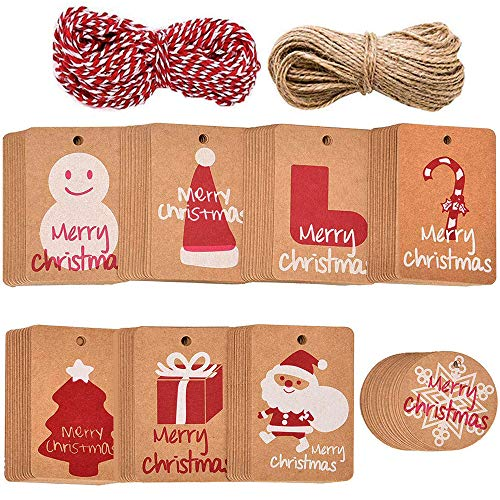 Xinlie Etiquetas de Papel Kraft Etiquetas de Regalo Etiquetas de Boda Etiquetas de Navidad Etiquetas de Regalo de Navidad...