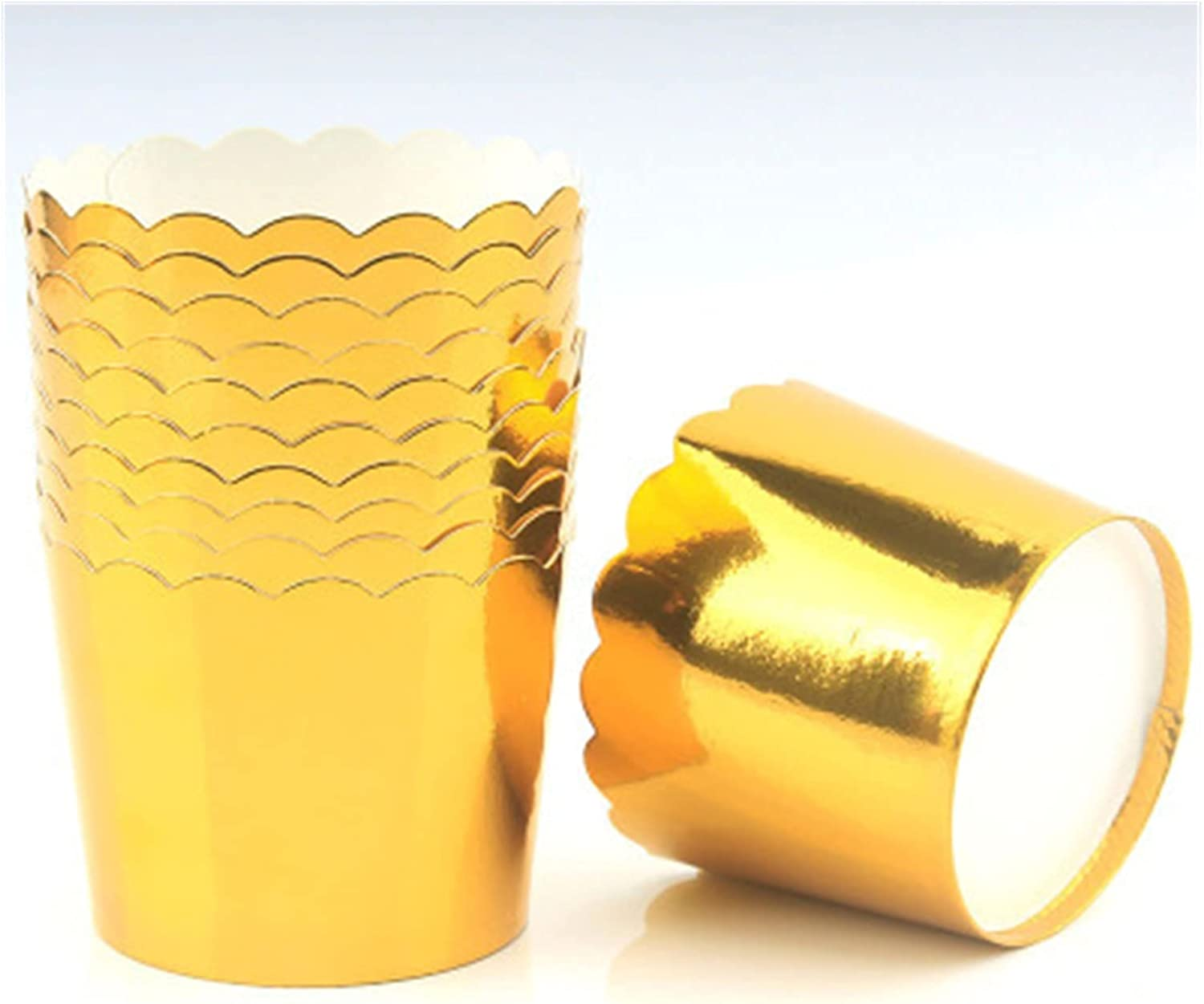 Pastry Cup 50Pcs Genuine Foil Cupcake Cups Paper Wrappe Oilproof Easy-to-use