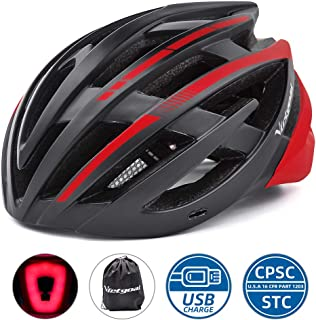 VICTGOAL Bike Helmet for Men Women USB Rechargeable Rear Light Adult Bicycle Helmet Detachable Sun Visor CPSC Certified Cycling Helmet Mountain Road Biking