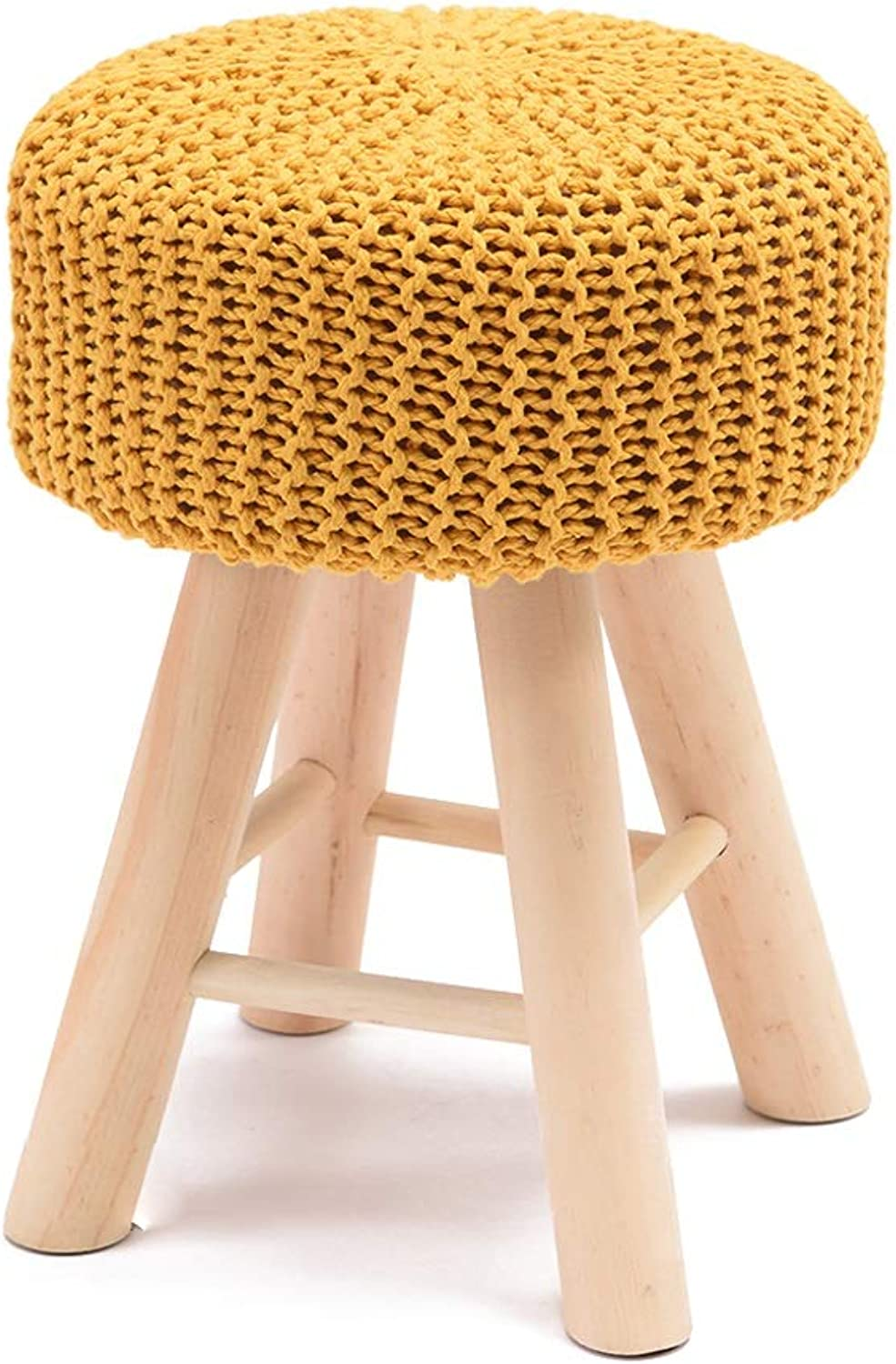 LSLMCS Upholstered Footstool - Chair Stool Set 4 Legs AndHandmade Knitted Woven Cotton Cover (5 colors) (color   A)