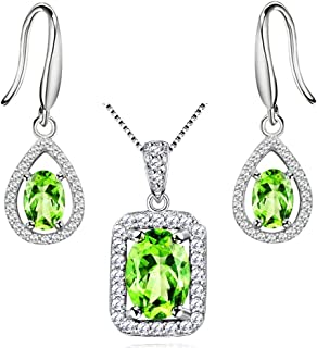 Uloveido 925 Sterling Silver Peridot Stone Necklace Pendant and Earrings Jewelry Set for Women FT001