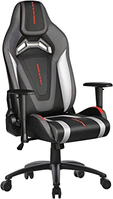 Furious Gaming Chair Racing Style Swivel Computer Gamer Chair with Fully Foam, Esports Video Game Chair, PU Leather Executive Office Chair with Lift Headrest and Lumbar Support White