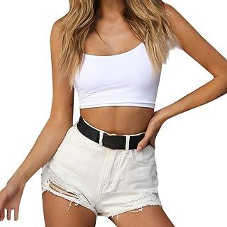 Ursing Tank Tops Women's Summer Women Fixed Overlap Cross Sling Crop Top Vest Halter Off Shoulder Sleeveless Blouse T-Shirt Short Bib Shirt Camisole Spaghetti Top Women's Tops