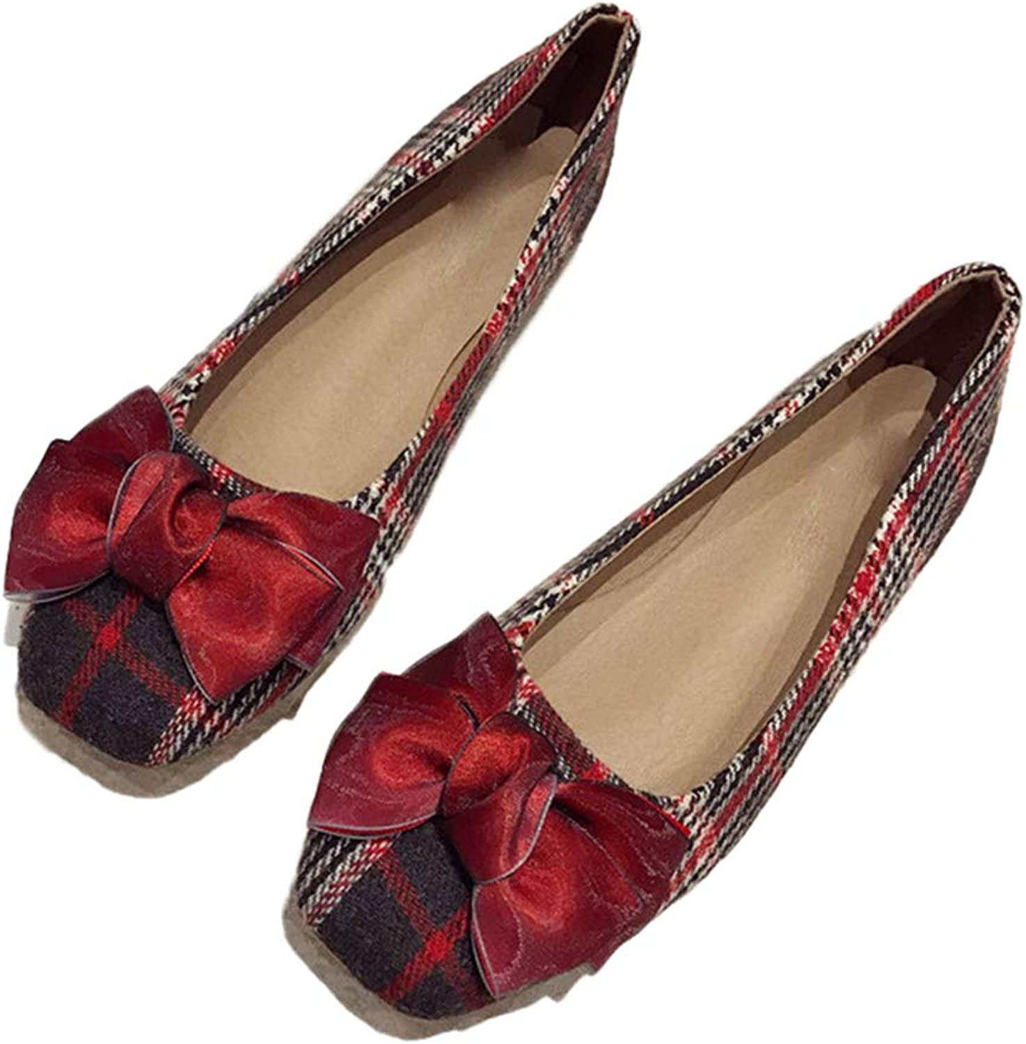 Kyle Walsh Pa Women Ballet Flats shoes Plaid Bowknot Slip-on Female Casual Soft Working Driving Footwear