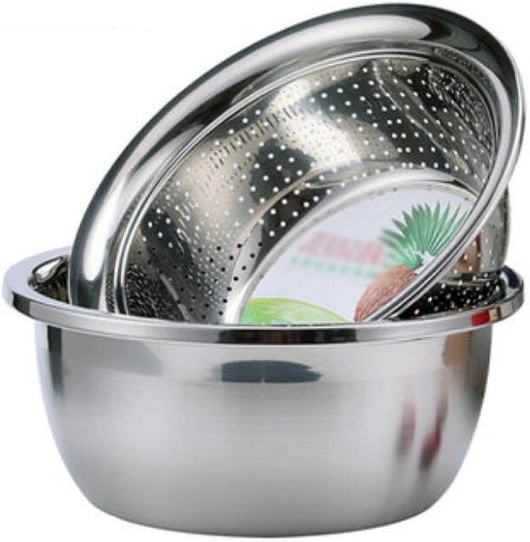 El nuevo outlet de marcas online. Liuyu Cocina Inicio Deepen más grueso pote pote pote de acero inoxidable Mezcla Cuenca Vasos de condimento Cocina de inducción de la cuenca de la sopa está disponible Drain Basin Rice Sieve 2 piezas   Set  alta calidad