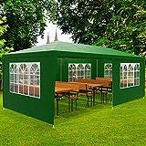 Deuba Pabellon Rimini Verde cenador 3x6m Carpa Plegable protección UV 50 Resistente al Agua 6 Paredes jardín Eventos