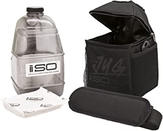 Isolator Fitness ISOJUG Combo Insulated One Gallon Water Jug Holder and One Gallon BPA Free Gallon Jug with ISOBRICK and Shoulder Strap -Made in USA (Blackout)