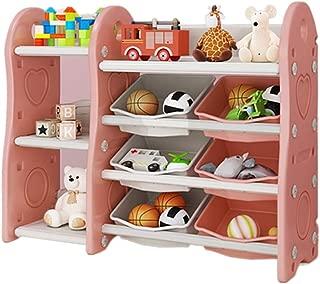 Xyanzi おもちゃ・絵本ラック 子供の本棚、12個のプラスチックビンと赤ちゃんのおもちゃの収納ラック分類棚幼稚園プラスチック製の棚収納キャビネット - ブルー、ピンク (Color : Pink, Size : C)