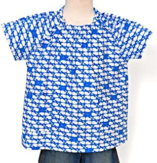 半袖スモック(身長100cmサイズ)【なかよしクジラさん大集合】 N1326010 幼稚園スモック 遊び着 園児