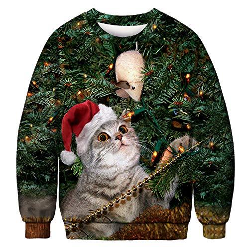 CHIYEEE Unisex Hässliche Weihnachten Sweatshirts Frauen Gedruckt Kreative Rundhals Pullover Herren Langarmshirts M