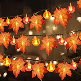3 Pack Thanksgiving Fall Decorations Pumpkin Maple Leaf Garland String Lights, 30 ft 30 LED 30 Pumpkin Lights Waterproof S...