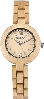 HELMASK watch - Wood Beige Round women lady Analog quartz Wrist Watch