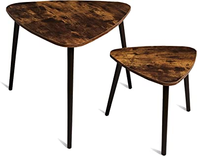 TianLang Nesting Coffee Table,Set of 2 Industrial End Table,Side Table for Living Room,Stable Wooden Legs,Retro Brown LJET007F